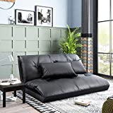 Floor Sofa Bed Foldable Floor Couch Sleeper Sofa Bed 5-Position Lounge Bed Floor Lazy Sofa Folding Floor Couch with 2 Pillows (Black)