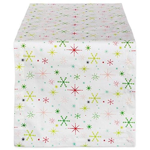 DII CAMZ37711 CHRISTMAS STAR PRINT TABLE RUNNER 14x72