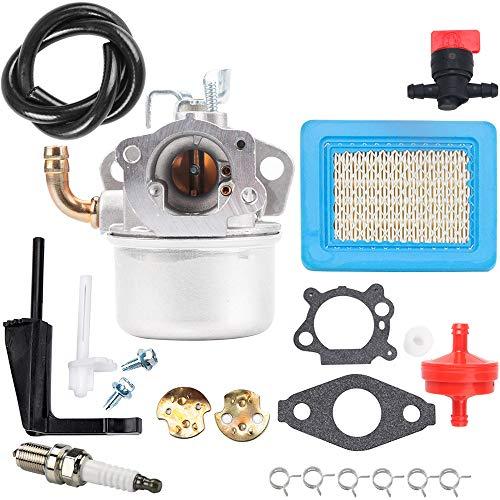 Carburetor Air Filter Fuel Line Tune-Up Parts Kit for Briggs & Stratton 791077 696981 Intek 190 6 HP 206 5.5hp Carb Motor 6.5 HP Power Craftsman Tiller Washer Go Kart Engine Generator