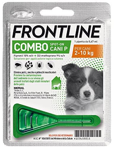 Frontline Combo, 1 Pipetta, Cane Taglia S (2 - 10 Kg), Antiparassitario per Cani, Cuccioli di Lunga Durata, Protegge il Cane e Anche la Casa da Pulci, Zecche, Uova e Larve, Antipulci 1 Pipetta