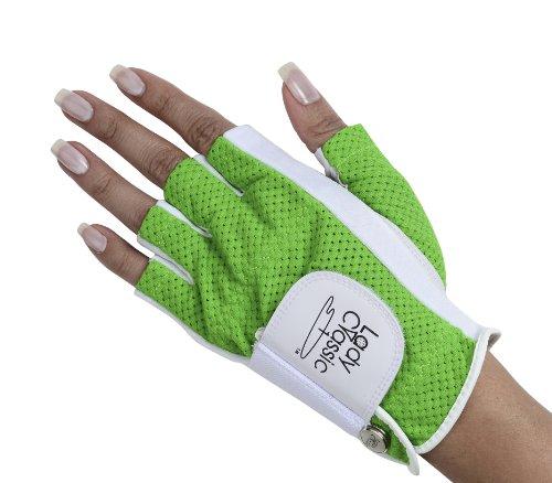 Lady Classic Half Glove (Left Hand), White and Green, Medium