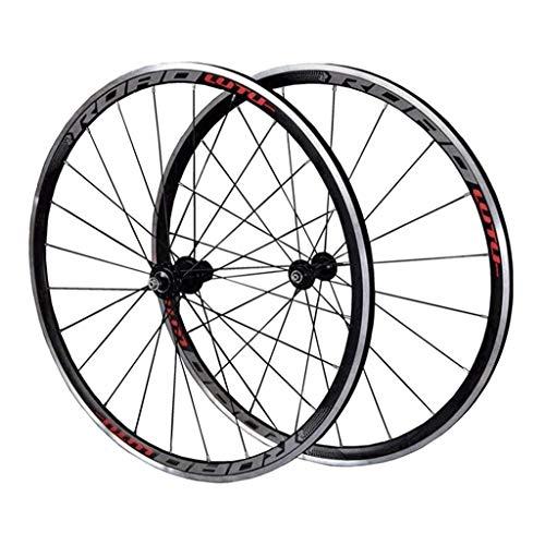 Juego Ruedas Bicicleta 700C para Bicicleta Carretera Llanta Doble Pared 30mm V Freno Aleación Aluminio Centro Tarjetas 7-11 Velocidad Rodamiento Sellado QR, Ruedas para Bicicletas (Color : A)
