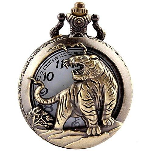 GORBEN Pocket Watch Retro Antique Animals Steampunk Pocket Quartz Movement Watches Box Gifts (Tiger)