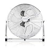 Premium Bodenventilator 45cm (18 Zoll) Inkl. Tasche - 120W, Ventilator in Chrom, Windmaschine, Hoher Luftdurchsatz, Stufenlos neigbarer Ventilatorkopf