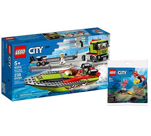 Collectix Lego 60254 City Rennboot-Transporter 30370 - Juego de accesorios de transporte para barco de carreras (incluye bolsa de polietileno)