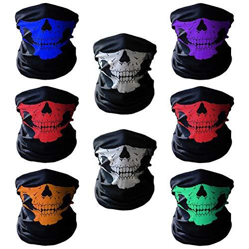 Xpassion 8 Stück Premium Sturmmaske Totenkopf mehrfarbige Skull Maske Multifonction Sturmmaske Ghost für Motorrad Fahrrad Ski Paintball Gamer Karneval Kostüm