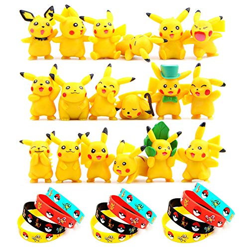 OMG Inc Funmo - Pokemon Pikachu Spielzeug Set, Pokémon Pikachu Mini Figuren Actionfiguren (18 Stück) Und Pokémon Silikon Armbänder (12 Stück), Parteien für Erwachsene und Kinder