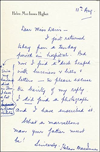 Helen Max 85% OFF Macinnes - Autograph Letter 11 08 Max 66% OFF Signed 1978