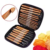 FILFEEL Bamboo Crochet Hooks Set, Bamboo Crochet Hooks Needles Knit Weave Craft Yarn Yarn Costing Knitting Tools with Case DIY Accesorio de Costura Artesanal Hecho a Mano