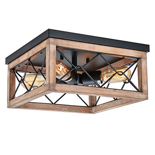 Eyassi Flush Mount Ceiling Lights Fixtures, Farmhouse 4-Light Wooden Close to Ceiling Lighting Black Ceiling Lamp for Kitchen Island Living Room Bedroom Hallway Laundry Entryway
