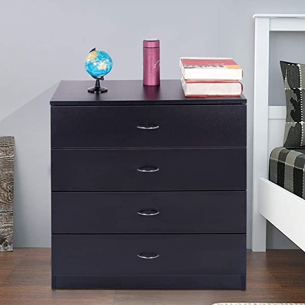 Binlin 4 Drawers Dresser Night Stand Closet Office Clothes Cosmetic Storage Chest Organizer Wood Dresser With Drawers Unit Bedroom Black