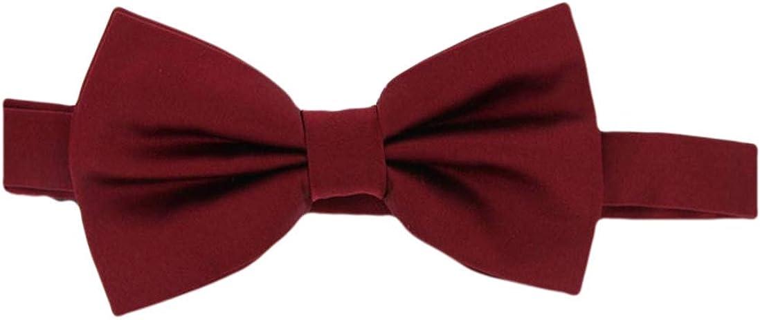 David Van Hagen Mens Plain Satin Silk Bow Tie - Wine