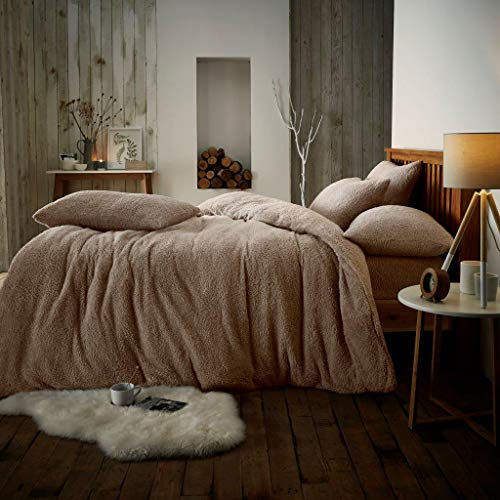 B&L Plain Teddy Fleece Duvet Cover Sets Thermal Warm & Super Soft Cozy Fluffy with Matching Pillow Cases Size Single Double King (Mink, Double)