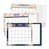 Navy Floral 2020-2021 Large Monthly Desk or Wall Calendar Planner, Big Giant Planning Blotter Pad, 18 Month Academic Desktop, Hanging 2-Year Date Notepad Teacher, Family Home or Business Office 11x17'