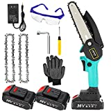 LERUOX Mini Chainsaw 6 Inch Cordless Battery Powered Electric Chainsaw, One-Hand Handheld Portable Small Chainsaw with Safety Lock 2 Batteries 2 Chains for Branch Pruning Wood Cutting Tree Trimming