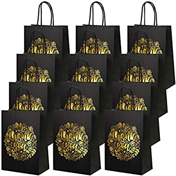 Cooraby 20 Pieces Bronzing Gold Thank You Party Bags Black Kraft Gift Paper Bags with Handles for Wedding Shopping Goodies Birthday Parties