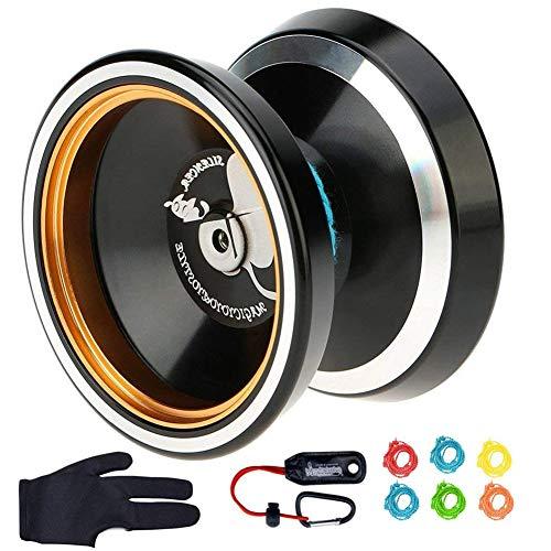 MAGICYOYO Silencer M001-B Yo-yo Ball Aluminum 6061 Unresponsive Yo-yo with Stainless Center Bearing and Stainless Axle Black Yoyo with Yoyo Holster, Glove, 6 Replacement Yoyo Strings