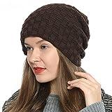 DonDon Damen Beanie Mütze Wintermütze Slouch Style mit sehr weichem und angenehm zu tragendem Innenfutter braun