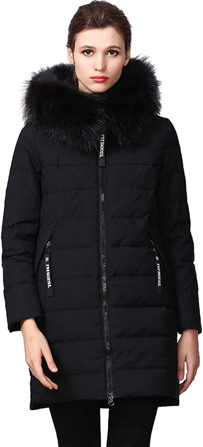 Insun Women's Slim Fit Thick Mid Length Winter Duck Down Coat with Fur Hood