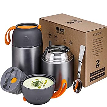 MAXSO 2 Pack Vacuum Insulated Food Jar Hot Food Containers for Lunch School Soup Thermos For Kids,Travel Food Flask Hot Cold  24oz,17oz   Grey