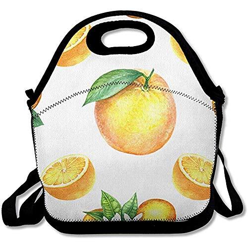 Lunchtas voor levensmiddelen, bladkleur groen, aquarelgroen, patroon, levensmiddelen, geel, drank, natuur, oranje, dieet, tekening bloemen, herbruikbaar, geïsoleerd, lunchbox