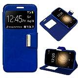 iGlobalmarket BQ Aquaris U Plus, Funda con Tapa, Apertura Lateral Tipo Libro, Cuero PU, Color Azul