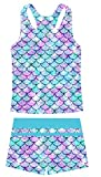 UNIFACO Girls Swim Suits7-8 Two Piece Swimwear Mermaid Fish Scale Bathing Suits with Short