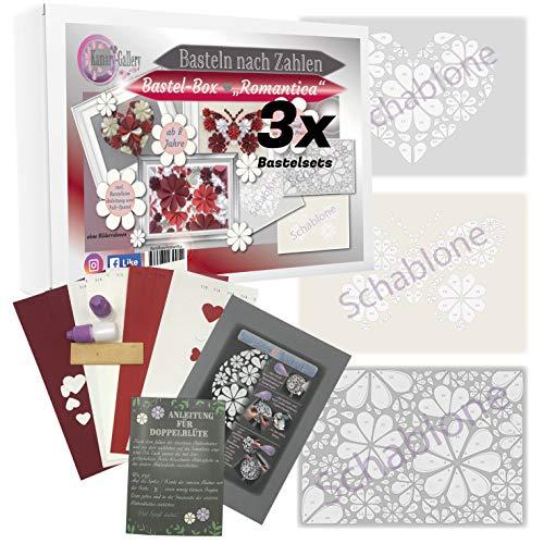 Kamary-Gallery 3 x Bastelset in Bastelbox Romantica Papierbastelset für Kinder und Erwachsene ab 8 Jahre, Box Basteln nach Zahlen in 3D-Design, Geschenkidee und DIY-Set