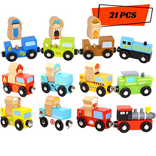Wooden Trains 21 PCS with Detachable Figures - Train Toys Magnetic Train Set Best Toys for 2-3 Year Old Boy and Girls - Compatible with Thomas Wooden Train Set - Train Tracks