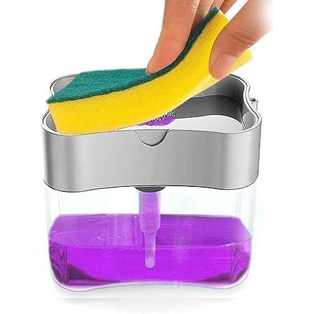 Limón Dispensador de Jabón Bomba de Jabón 13 Onzas Jabonera con Esponja para Fregadero, Automático Líquido Dispensador de Jabón Baño Espuma (Plateado)