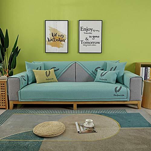 Topashe Funda sofá Duplex,Cojín de sofá Todo Incluido Antideslizante, Funda de sofá Universal Gruesa-Lake Blue_90 * 160cm,elástico Tejido Protector por sofá Funda