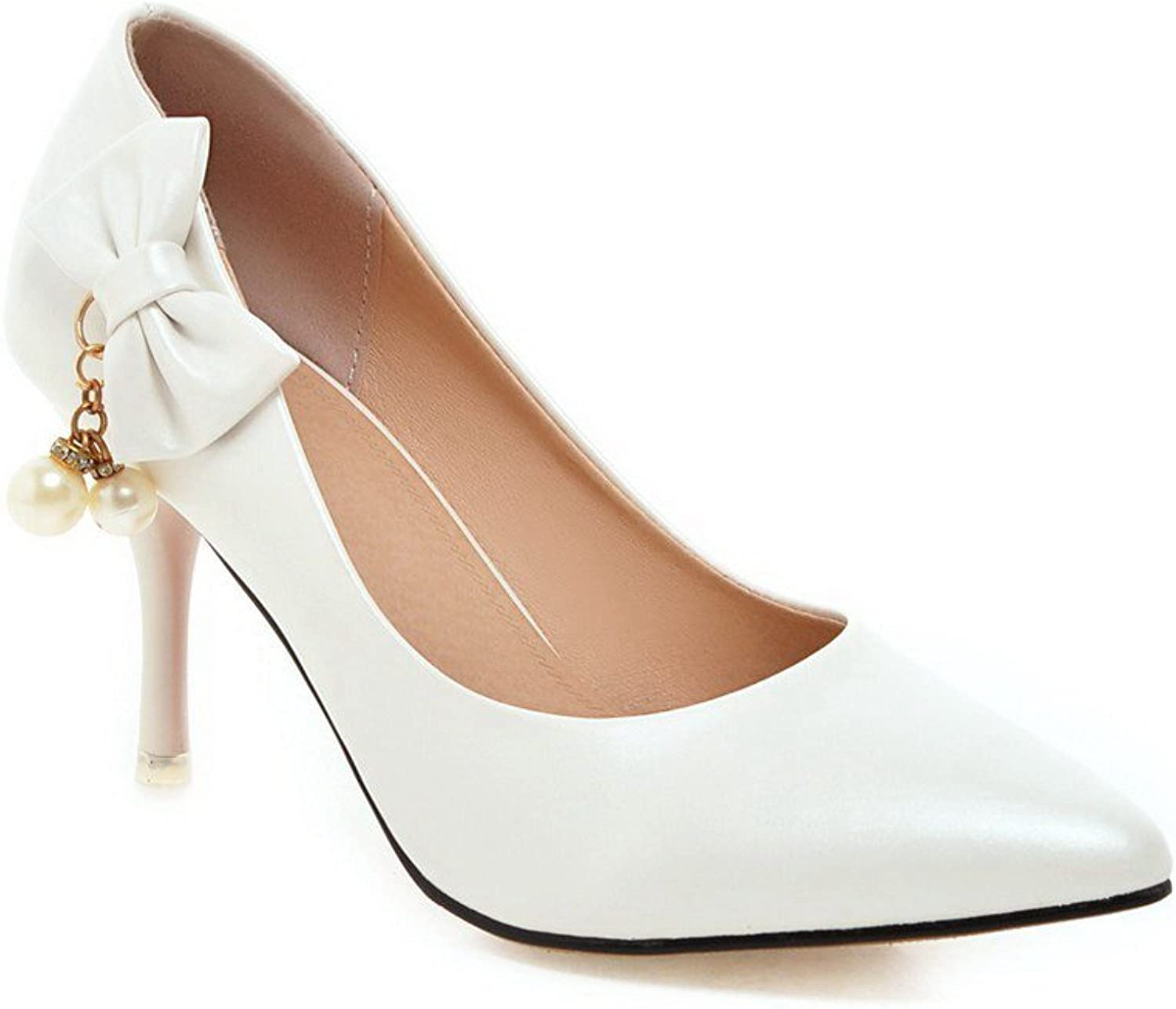 WeenFashion Women's Soft Material Pointed Closed Toe Spikes Stilettos Pull On Pumps-shoes