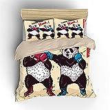 Unicey Ropa De Cama - Boxeo Dibujos Animados Animal Panda 180X220 Cm Microfibra Nuevo Set De Tres Piezas Funda De Edredón Habitación Infantil, Dormitorio Decoración De Habitaciones De Hotel
