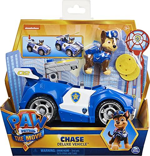 Paw Patrol 6060434 Chase's Deluxe Movie Transforming Car con Figura de acción Coleccionable, Juguetes para niños a Partir de 3 años