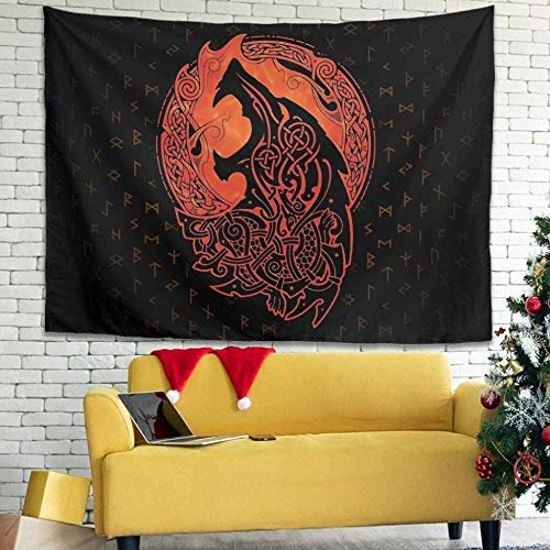 Tapestry Wall Hanging Nordic Viking Wolf Celtic Knot Fathurk Mythology Tapestry for Beach Bedroom Living Room Home Decor-150x100cm_White