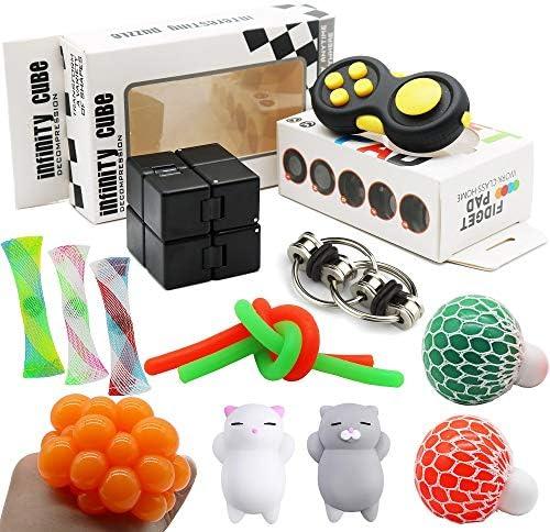 12 Pack Sensory Fidget Toys Set Infinity Cube Fidget Pad Cube Stress Balls Flippy Chain Marble product image