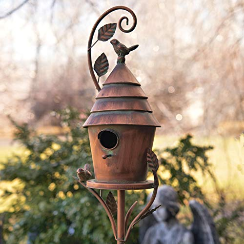 Zaer Ltd. Copper Colored Fancy Design Birdhouse Garden Stakes (Cylindrical with Cone Roof)