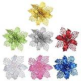 Relaxbx 7 Piezas de Flores de nochebuena Artificiales con Purpurina roja, Adornos de árbol de Navidad, Guirnalda, decoración de arreglos Florales