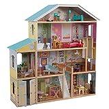 KidKraft 65252 Majestic Mansion - Casa de Muñecas de Madera con Muebles y Accesorios Incluidos, 4 Pisos, para Muñecas de 30 cm, Multicolor