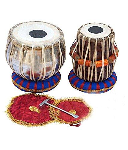 Juego de tambores de mesa de estudiante indio MAHARAJA, Bayan de acero, mejor Dayan con libro, martillo, cojines y funda