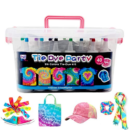 Tie Dye Kit for Kids and Adults, 24 Colors for DIY Fabric Dye Projects. 172 Pack Party Tie Dye Supplies with Aprons, Gloves, Rubber Bands and Table Covers(Pink)