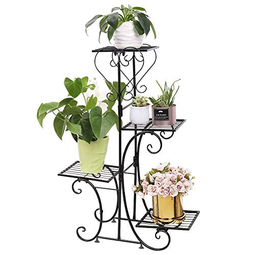 Malayas Blumentreppe 4 Ebenen aus Metall, Blumenständer für innen und außen Garten Balkon, schwarz Pflanzenregal, 81 × 57 × 26cm
