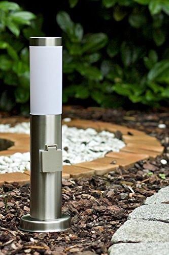 Nordlux Edelstahl Leuchte Stand 45 cm Höhe mit Steckdose