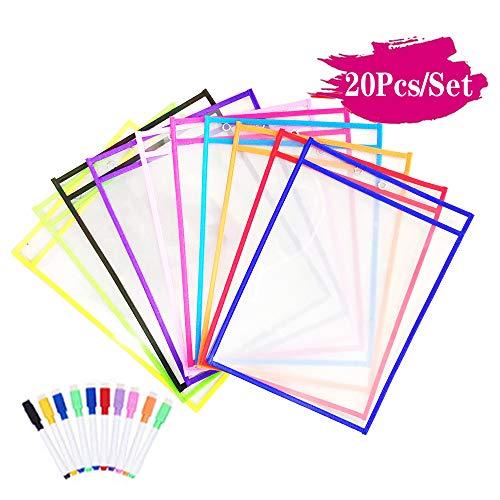 Dry Erase Taschen, 10 Stück Wiederverwendbare Trocken Abwischbare Taschen,Arbeit Erase Schreibwaren Lieferungen für Büro und Schule,35.5×25.5 cm