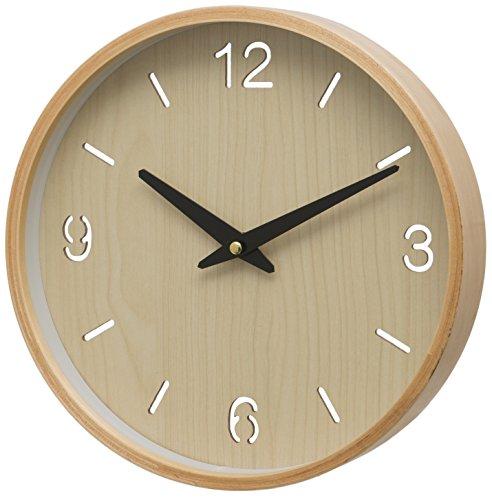 Unity Brora drewniana obudowa arabska i baton zegar ścienny, kremowy, 26 x 26 x 3 cm