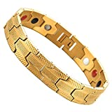 COOLSTEELANDBEYOND Exquisite Gold Stainless Steel Bracelet for Men with Free Link Removal Kit