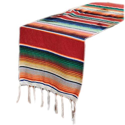 ZIRAN 35x213cm Mexikanische Decke Helle Regenbogenstreifen Gewebte Tischläufer Fransen Baumwolle Tischdecke Festival Party Home Tischdekoration Tischläufer-Baumwolle