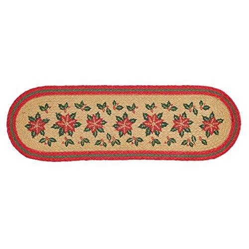 VHC Marken Weihnachtsstern Jute Stufenmatten Latex, 21,6x 68,6cm