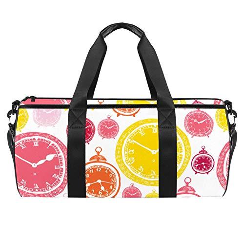 Birght Farbe Gelb Pink Uhr Muster Sport Gym Bag Zylindrische Reise Duffel Bag mit Nasstasche Leichte Workout-Tasche Reisen mit Schultergurt für Männer Frauen