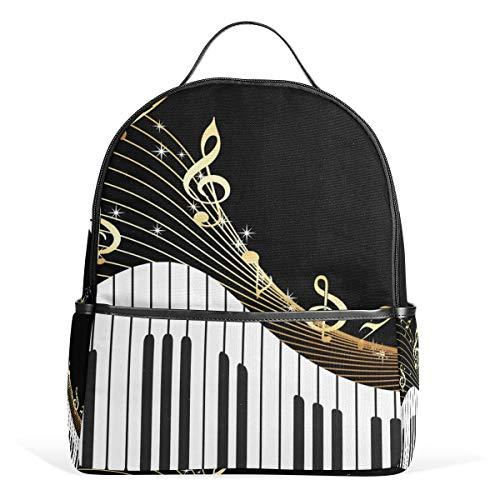 CPYang Zaino Scuola Pianoforte Tastiera Musica Note College Borsa a Tracolla Casual Daypack Zaino Da Viaggio per Ragazze Ragazzi Donne Uomini